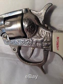 KILGORE AMERICAN CAST IRON NICKLE PLATED CAP GUN c. 1940 APPEARS UNUSED