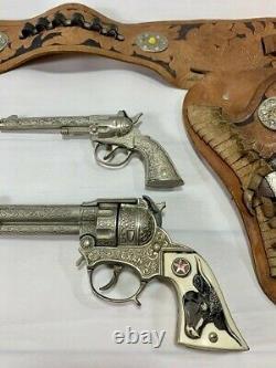 Keystone Double Holster Cap Gun Rig With Texan Jr's And Hubley Chief Cap Gun