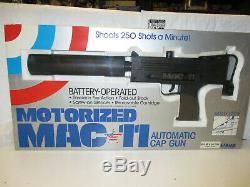 LARAMI 1986 Mac-11 Motorized Toy Cap Gun With Silencer Vintage Rare