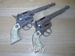 Large Leather Double Holster + 2 Big Hubley Cowboy Die Cast Cap Guns