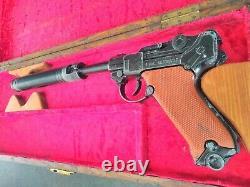 Lone star luger gun with silencer & case, james bond where eagles dare