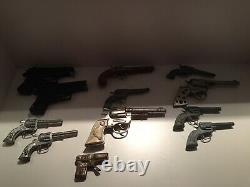 Lot of 11 Vintage Toy Cap Guns & 1 Vintage Tin Water Pistol. Pre-owned