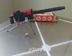 MATTEL-O-MATIC CAP FIRING AIR COOLED MACHINE GUN With TRIPOD & ORIGINAL BOX WORKS