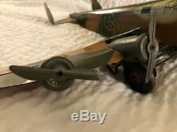 Marx Tin Litho 18 Wingspan Army Bomber Works great & fires guns Rare 4 Engines