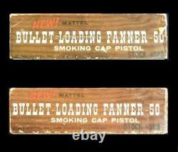 Mattel Bullet- Loading-Fanner 50 Cap Gun, (6) Metal Bullets & Original Box