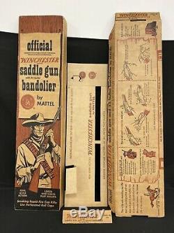 Mattel Winchester Saddle Gun Rifle Toy Cap Gun WITH ORIGINAL BOX Vintage