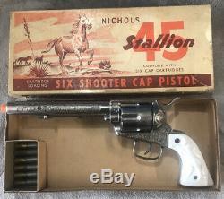 NICHOLS STALLION 45 MARK I Pasadena TOY CAP Gun With Original Box And Bullets