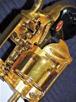 NOS VINTAGE 1955 GORGEOUS COWBOY CLASSIC GOLD PLATED TOY CAP GUN WithORIGINAL BOX