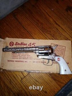 Nichols Stallion 45 Toy Cap Gun Pasadena with extra side pieces and box