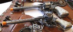Old Western Roy Rogers Double Cap Gun Holster Set Kilgore Revolving Cylinder Gun