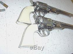 PAIR Of 50-60's Hubley Colt 45 13.5 LONG Vintage Western Cap Gun Collector