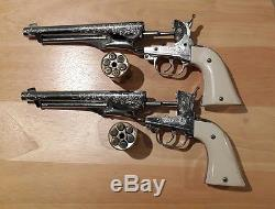 RARE 2 HUBLEY COLT 45 Vintage Cap Gun Revolver Six Shooter Cap Gun