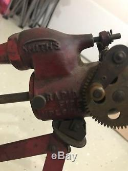 RARE! Smiths Model 32 Rapid Fire Carbide Toy Machine Gun. 1930s Cast Iron