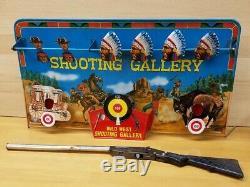 RARE Vintage Marx Toys Wild West Shooting Gallery Cork Gun Game Tin Metal