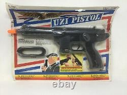 REPLICA NOT REAL NOS Edison Giocattoli Uzi Pistol Cap Gun Supermatic System