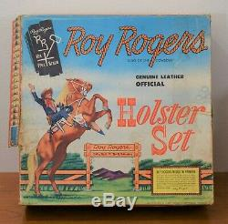 ROY ROGERS Genuine Leather Official HOLSTER SET Complete With BOX GUNS & BELT