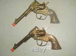 ROY ROGERS HOLSTER SET PAIR OF 7¾ ROY ROGERS CLASSY GOLD CAP GUNS WithBOX