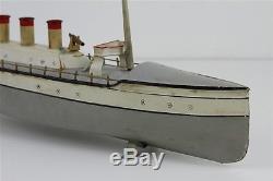 Rare Antique 18 George Carette Gun Boat Tin Clockwork 18 Toy Ship Working