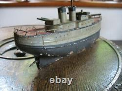 Rare Carette Or Similar Gun Boat Antique Tin Toy Wind Up Ship Germany Tinplate