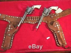 Rare Sheriff Bob Dixon Original 1950 HUBLEY COWBOY Two Guns / Holster Extra Fine