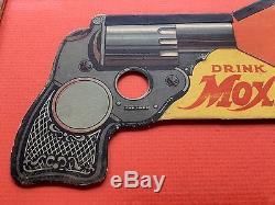 Rare Vintage 1920s Moxie Soda Toy Gun Ephemera Advertising Sign