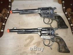 Rare Vintage 1950s Roy Rogers Double Holster George Schmidt Cap Guns Good Cond