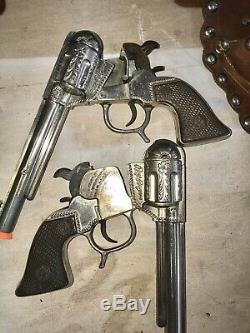 Rare Vintage 1950s Roy Rogers Double Holster George Schmidt Cap Guns Vg Cond