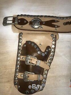 Rare Vintage 1950s Roy Rogers Double Holster Kilgore Cap Guns Good Condition