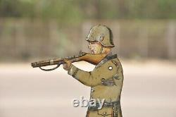 Rare Vintage DRGM Mechanical Soldier With Gun Litho Tin Toy, Germany