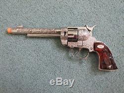 Rare Vintage Leslie-Henry Gene Autry Western Cap Gun Pistol Box Bullets Amber