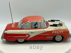 Rare Vintage Niedermeier W. Germany Tin Friction Police Sparkling Gun Car 10.5