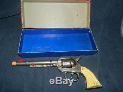 Rare Vintage Orig Box Cast Iron KILGORE Long Tom Six Shooter Cap Gun Pistol VF