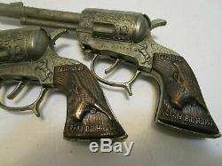 Rare Vintage Wild Bill Hickok Dual Cap Gun Set W'/awesome Leather Holster Wow
