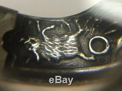 Rare Vtg Miniature Cap Gun Fob Charm Embossed Silver Boar Deer Hunting Dog Grips