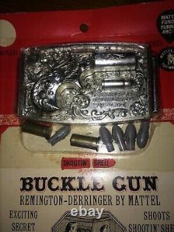 Remington Derringer By Mattel Buckle Gun Western Belt NICE! Cap