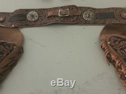 Set # 77 - Lone Ranger Leather Double Holster & Gun Set