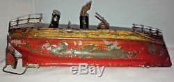 Staudt Clockwork Tin Toy Coastal Gun Boat Cruiser Fleischmann Bing Marklin