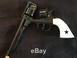 THE REBEL Cap Gun with Holster, bullet holder, 3-bullets, and belt. By Lone Star