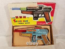 Tin Toy 1950/60's RED CHINA MF 861 friction motor SPACE GUN mint in original box
