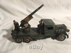 Tippco Anti Aircraft Gun 1930s Pre-war Germany Tin Wind up clockwork toy Hausser