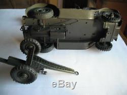 Tippco German Staff Car & Gun Tin Wind Up Toy Car With Figures Lineol Hausser