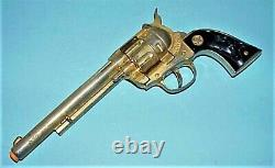 VINTAGE 1955 GORGEOUS COWBOY CLASSIC GOLD PLATED TOY CAP GUN WithORIGINAL BOX