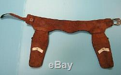 VINTAGE LONE RANGER LEATHER DOUBLE HOLSTER EMBELLISHED withPONY BOY CAP GUNS
