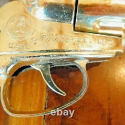 VINTAGE MATTEL FANNER 50 DUAL WESTERN COWHIDE BELT, 2 CAP GUNS and TOY AMMO