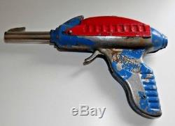 VINTAGE SPACEMAN STREAMLINE SPACE CAP GUN STEEL 1950's LIMIT ENGLAND RARE B840