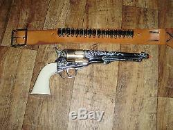 Vintage Toy Hubley Colt 45 & Holster With Bullets Cap Gun Permanent Orange Plug