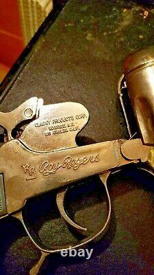VTG 1955 RR ROY ROGERS COWBOY CAP GUN & HOLSTER set withBELT
