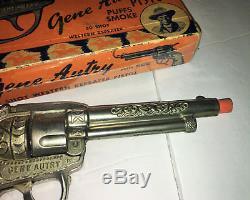 Vintage 1950-60 era Leslie-Henry Gene Autry Toy Cap Gun with Box Nickel Finish