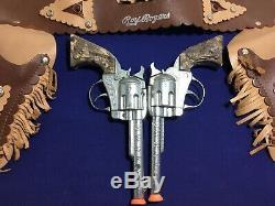Vintage 1950's Kilgore Roy Rogers Double Holster & Circle K Cap Gun Set