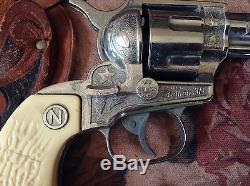 Vintage 1950's Nichols Jacksonville Stallion 38 Cap Guns & Carnell Holsters TLC